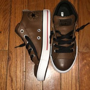 Brown leather kids converse